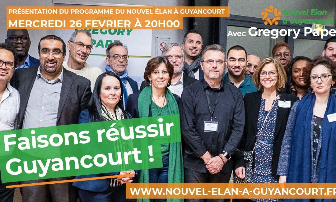 Présentation du programme du Nouvel Élan à Guyancourt – Le 26 Février à 20H